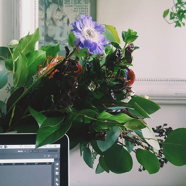 Enjoying my afternoon working from home with my beautiful #bouquet by @sprouthomebrooklyn -- #flowers #flores #flowerarrangement #colortheory #colorinspiration #colors #freelancelife #design #graphicdesign #adobe #brooklyn #plants #currentdesignsituation