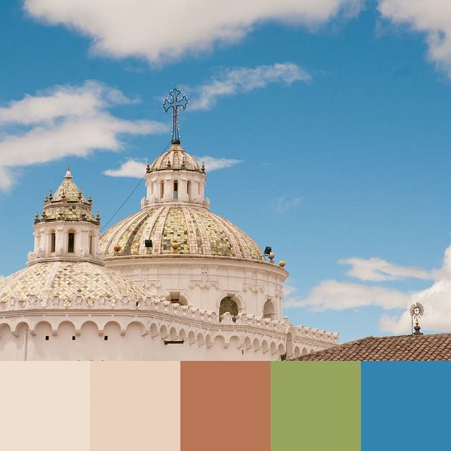 More beautiful architecture, this time from Quito, Ecuador. One of the most beautiful old cities I've visited! -- #colorpalette #creativelife #colorventures #chasinglight #agameoftones #colorinspo #colorinspiration #colors #colortheory #colorgram #designspiration #design #graphicdesign #travel #travelphotography #quito #ecuador #church #architecture #designdetails #tiles #sky #minimalism