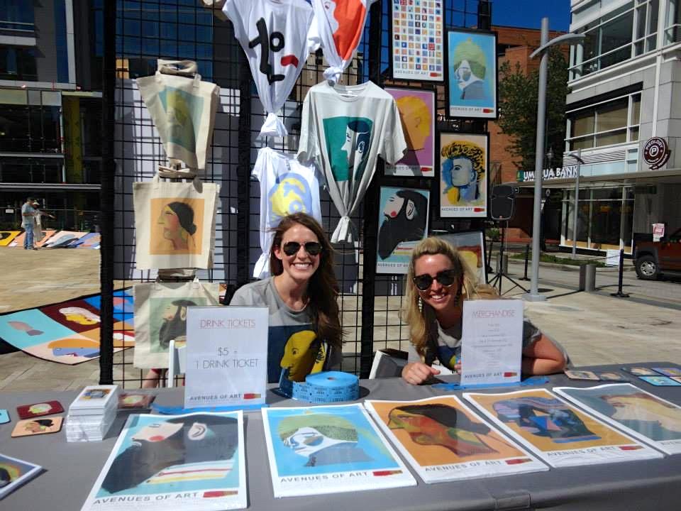 Levé members Lauren post and Lisa Hattery volunteer at Avenues of Art.