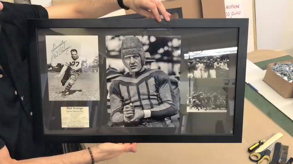 Red Grange Custom Framed PieceAdding the points, Jeffrey Alans Custom Framing, 4 locations in Illinois & Indiana