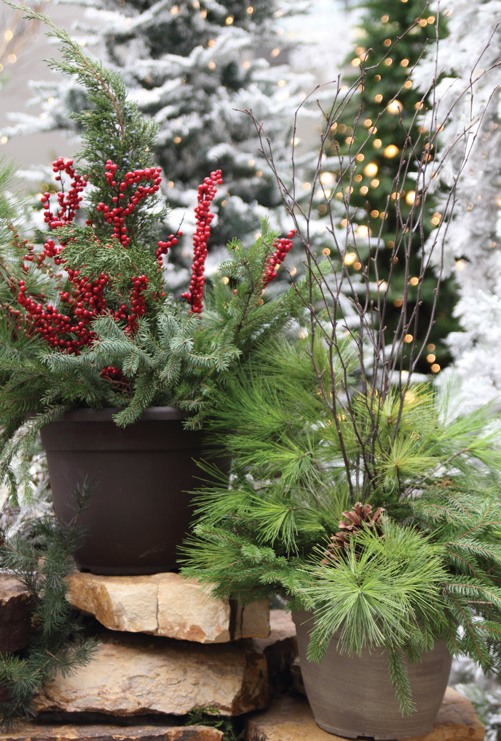 Outdoor Holiday Planters, available at  Jeffrey Alans , 4 stores in Illinois & Indiana, selection may vary by location