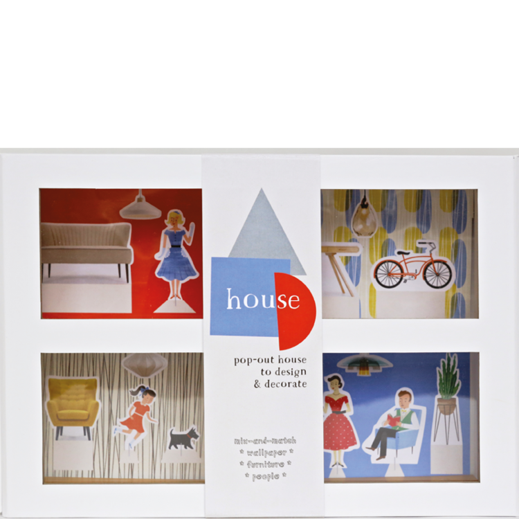 house illustrations Angela Keoghan Pop-out house with people, wallpaper & furniture.  pop-out box and props, novelty, ages 7+ contact - Jane Wilsher jane@bop-publishing.com