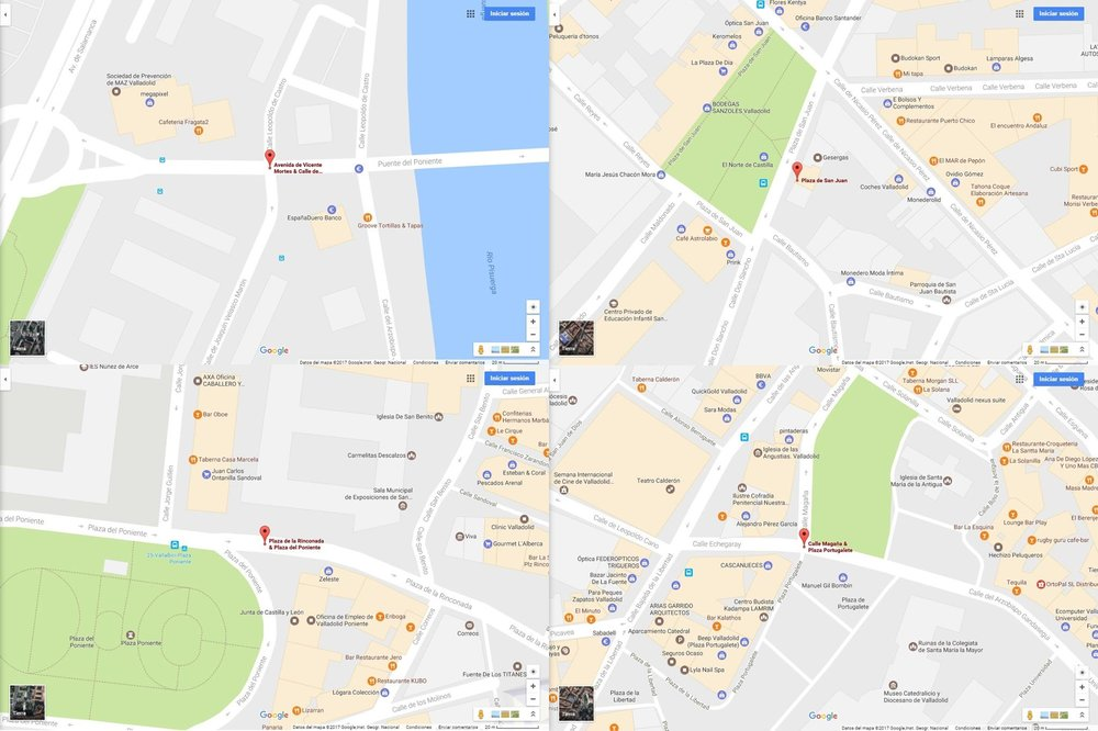 Locations of the first four interventions in 175 x 120 cm street billboards.