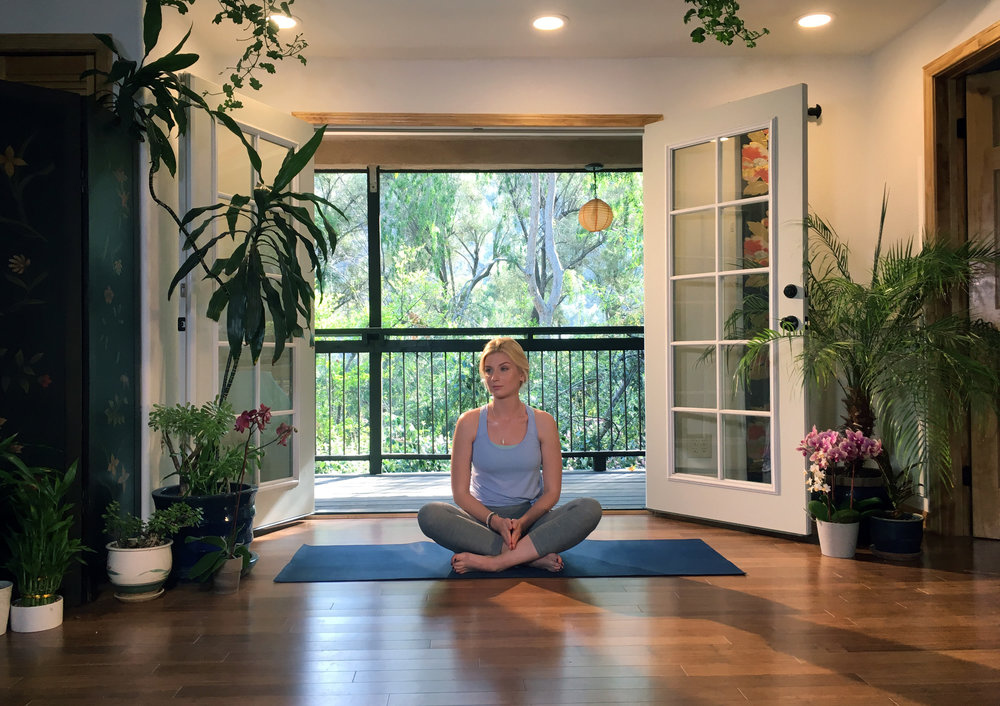 Living area turned yoga studio (shot from on set)
