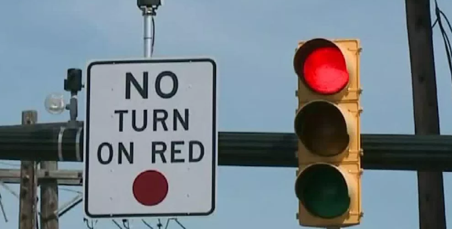 A sign prohibiting right turns on a red light
