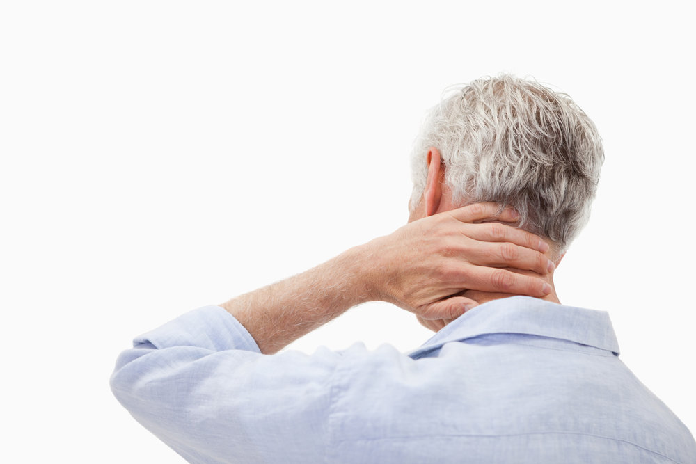 Patient showing signs of neck pain and stiffness