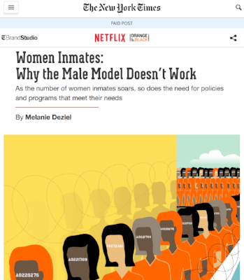 """Screenshot of """"Women Inmates: Why The Male Model Doesn't Work"""" Credit:     nytimes.co     m"""