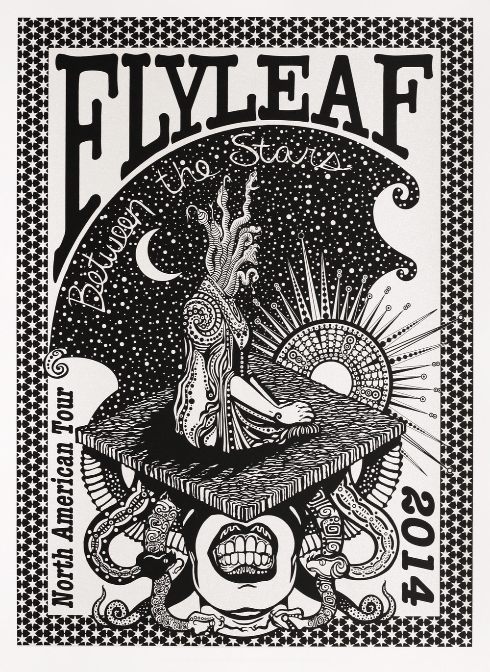 Pat Seals   Flyleaf Tour Poster   screenprint  2014