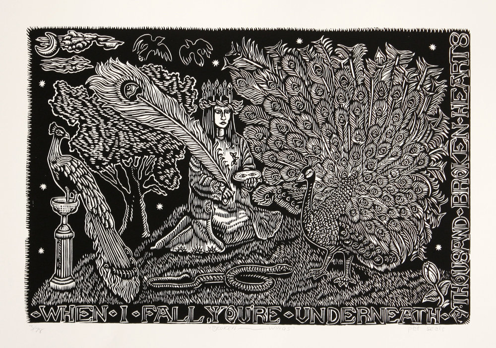 Pat Seals   Broken Wings   woodcut  edition of 78