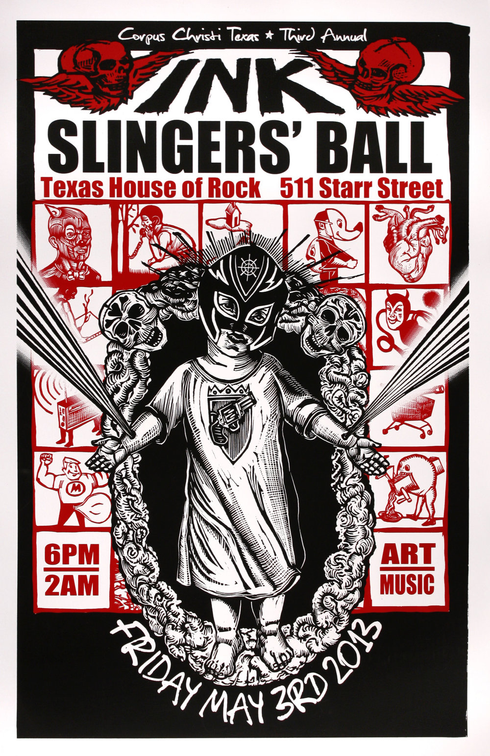 Marc Brunier-Mestas   Inkslingers' Ball   screenprint  2013