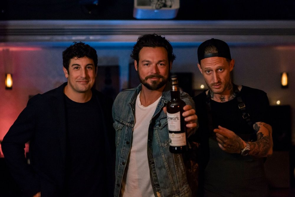 Jason Biggs, Gavriel Cardarella, and Michael Voltaggio at Dewar's Scotch Egg Club