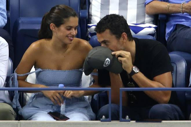 Sara Sampaio and Oliver Ripley enjoying a private moment during the Nadal vs. Thiem match