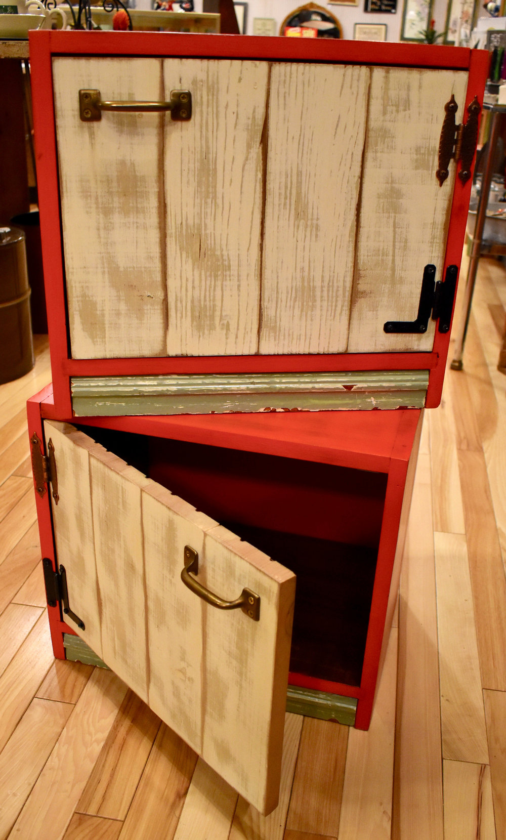 Pair of Vermillion Cabinets