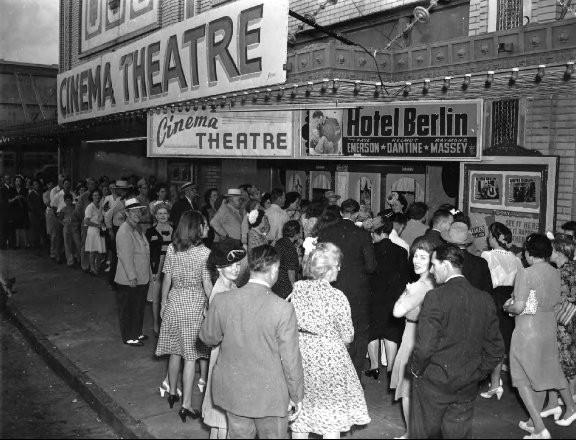"""The Rialto Theatre circa 1945, when the film """"Hotel Berlin"""" was first released."""