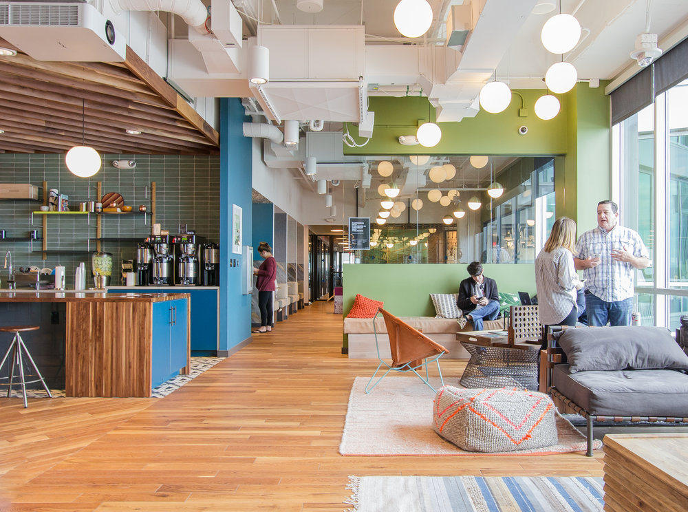 An open lounge area in the WeWork University Park location, Austin, TX.