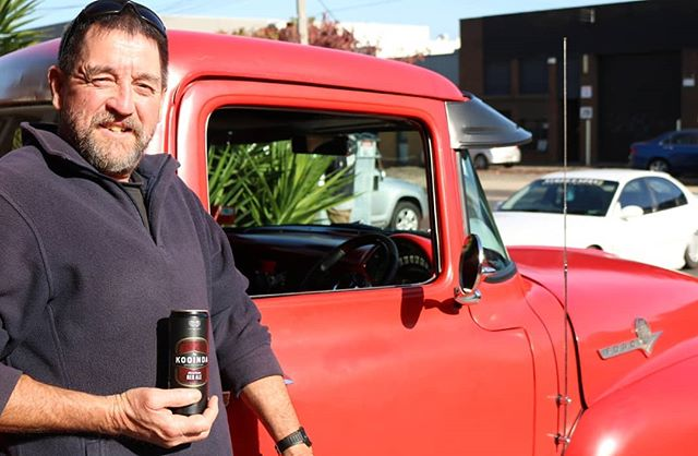 Cheers to John from @antiquetyre around the corner for letting us use his truck for these awesome shots with our American Red! #americanredale #americanhotrod #redisthenewblack