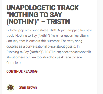 "INDIE BAND GURU -  UNAPOLOGETIC TRACK ""NOTHING TO SAY (NOTHIN')"""