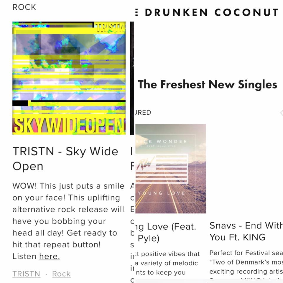 The Drunken Coconut  - TRISTN - SKY WIDE OPENWOW! This just puts a smile on your face! This uplifting alternative rock release will have you bobbing your head all day! Get ready to hit that repeat button!(Click image to go to page)