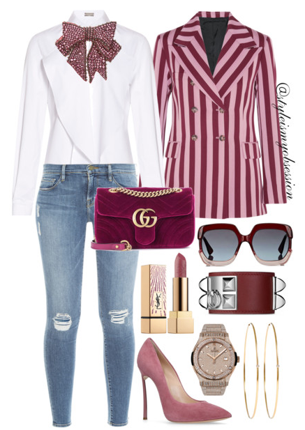 Style Inspiration Crystal Bows & Pink Stripes Alexa Chung Striped Blazer Alexis Mabille Pussybow Top Frame Denim Le Skinny Jeans Casadei Suede Blade Pump Gucci GG Marmont Velvet Mini Bag.PNG