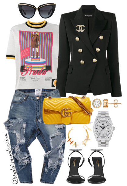 Style Inspiration Have A Little Fun Balmain Blazer Prada Pin-Up Short Sleeve Top One Teaspoon Jeans Saint Laurent Freja Sandal Gucci GG Marmont Bag.PNG