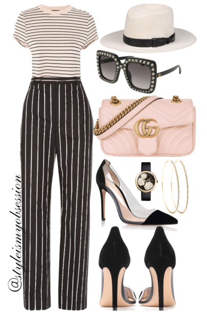 Style Inspiration On Wednesdays We Wear Pink Topshop Striped Cropped Top Balenciaga Striped Pants Gucci GG Marmont Bag Gianvito Rossi Plexi Pump Gucci Swarvoski Crystal Square Sunglasses.PNG