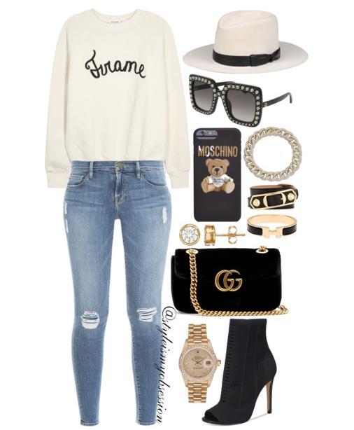 Style Inspiration Frame of Mind Frame Denim Sweatshirt Frame Denim Le Skinny Jeans Aldo Peep Toe Knit Bootie Gucci GG Marmont Mini Velvet Bag Gucci Swarvoski Crystal Square Sunglasses.PNG