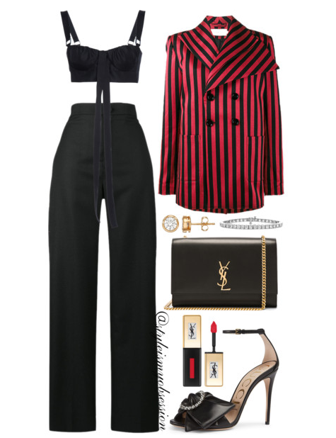 Style Inspiration Smooth Criminal Marques Almeida Black and Red Striped Blazer Proenza Schouler Bra Top Jacquemus High Waist Trousers Gucci Isle Sandal Saint Laurent Kate Monogram Bag.PNG