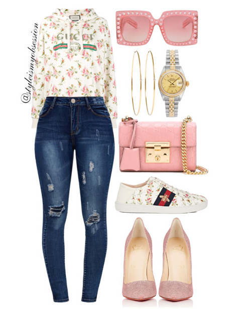 Style Inspiration Pink Petals Gucci Sweatshirt Pretty Little Thing Jeans Christian Louboutin So Kate Pump Gucci Sneaker Gucci Padlock Bag.PNG