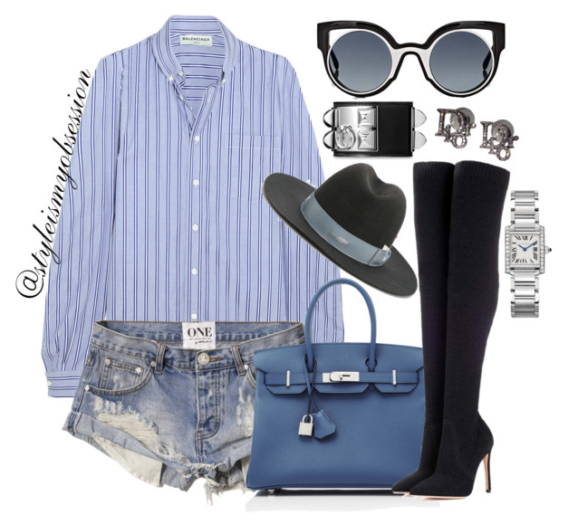 Style Inspiration Feeling The Blues Balenciaga Shirt One Teaspoon Bandits Shorts Gianvito Rossi Knitted Over the Knee Boots Nick Fouguet Fedora Fendi Sunglasses.PNG