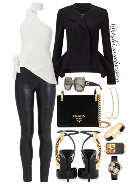 Style Inspiration Peplum Cinq A Sept Leah One Shoulder Choker Blouse Roland Mouret Peplum Jacket The Row Leather Leggings Saint Laurent Edie Sandals Prada Velvet Pattina Bag.PNG