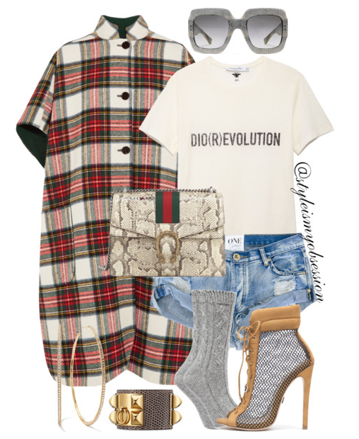 Style Inspiration Camping Trip Burberry Tartan Poncho One Teaspoon Bandits Shorts Emily B x Ziginy Bootie Gucci Dionysus Python Bag.PNG