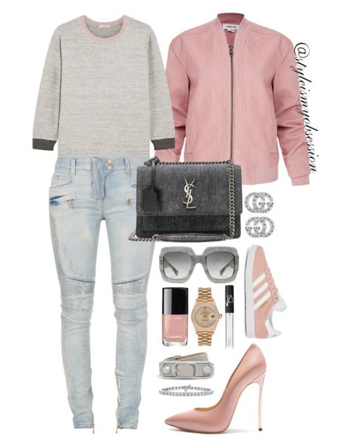 Style Inspiration Pink Suede Helmut Lang Pink Bomber Jacket James Perse Sweatshirt Balmain Moto Jeans Adidas Giselle Suede Sneaker Saint Laurent Denim Monogram Sunset Bag Casadi Blade Pump.PNG