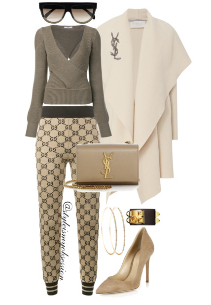 Style Inspiration Comfy Cozy Gucci Logo Knit Leggings Tome Cutout Sweater Harris Wharf Ivory Blanket Coat Gianvito Rossi Suede Pump Saint Laurent Kate Monogram Shoulder Bag.PNG