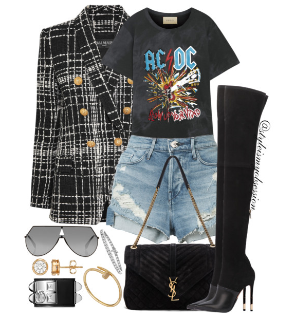 Style Inspiration Rock Out Balmain Double-Breasted Boucle Blazer Gucci ACDC T-shirt 3X1 Denim Shorts Balmain Amazone Boots Saint Laurent Bag.PNG