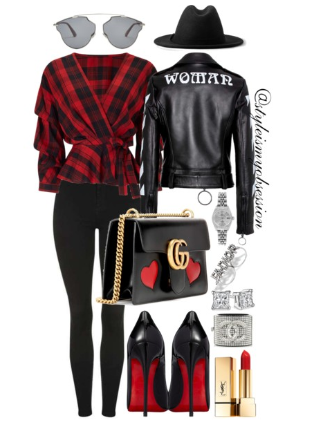 Style Inspiration I Am Woman Off-White Leather Jacket Miss Selfridge Checked Wrap Blouse Christian Louboutin So Kate Black Patent Leather Pump Gucci Marmont Shoulder Bag.PNG