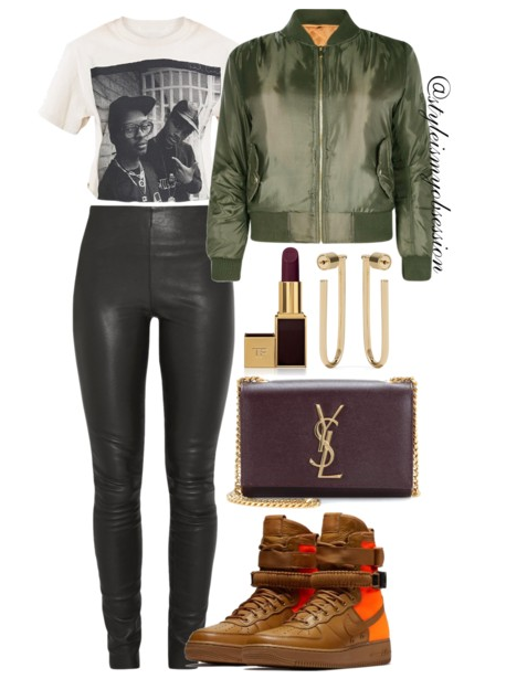 Style Inspiration She's So Fresh Boohoo Candace Bomber Jacket By Malene Birger Leather Leggings Air Force 1 Qs High-Top Sneakers Saint Laruent Classic Monogram Shoulder Bag.PNG