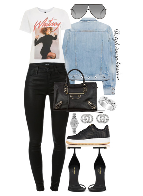 Style Inspiration Whitney Topshop Whitney Houston T-shirt Rage & Bone Denim Jacket J Brand Maria Jeans Nike Air Force 1 Sneakers Balenciaga City Bag Saint Laurent Classic Jane Sandal Fendi Shield Sunglasses.PNG