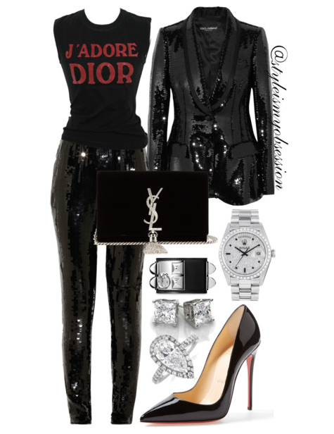 Style Inspiration Dior Holiday Dolce & Gabbana Sequin Blazer Christian Dior T-shirt Jason Wu Sequin Pants Christian Louboutin So Kate Pump Saint Laurent Kate Monogram Shoulder Bag.PNG
