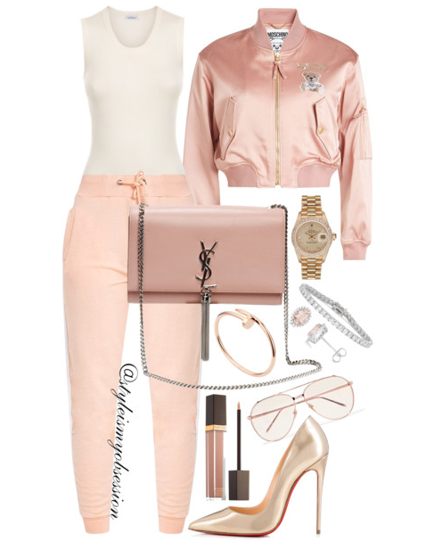 Style Inspiration Joggers and Bombers Moschino Satin Bomber Jacket PrettyLittleThing Nude Joggers Christian Louboutin So Kate Gold Pumps Saint Laurent Kate Monogram Shoulder Bag.PNG