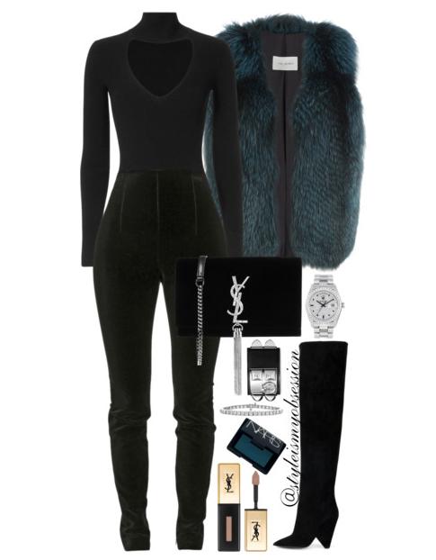 Style Inspiration Ms. Fancy Pants Cushnie et Ochs Bodysuit Balmain Suede Leggings Saint Laurent Niki Boots Saint Laurent Kate Monogram Velvet Shoulder Bag Yves Salomon Fox Fur Vest.PNG
