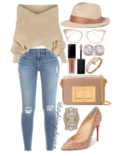 Style Inspiration Shoulder Shrug WithChic Off the Shoulder Wrap Sweater Frame Denim Jeans Tom Ford Natalia Bag Christian Louboutin Escarpic Studded Pumps.PNG
