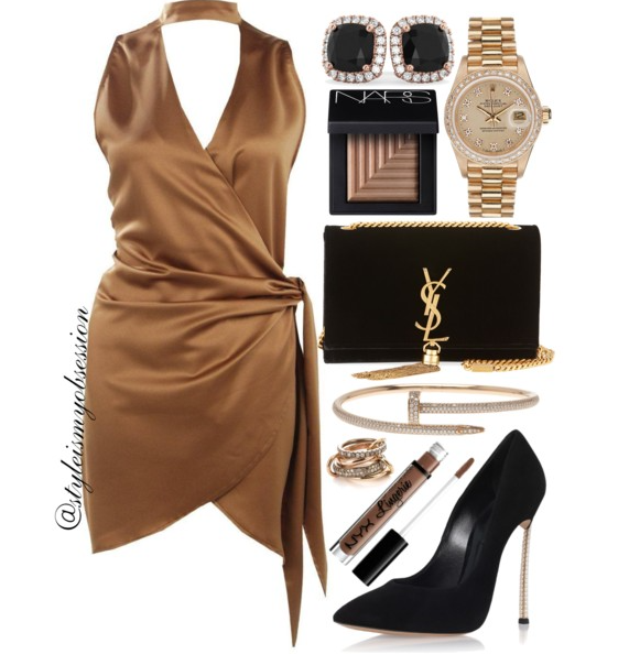 Style Inspiration Bronze Bombsheel Boohoo Choker Wrap Dress Casadei Pearl Blade Pump Saint Laurent Kate Velvet Shoulder Bag.PNG