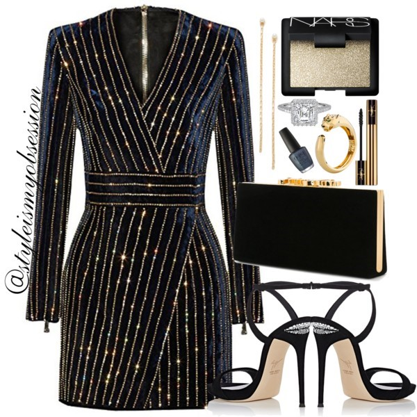 Style Inspiration Kiss At Midnight Uonbox Embellished Velvet Mini Dress Giuseppe Zanotti Coline Sandal Jimmy Choo Celeste Clutch.jpg
