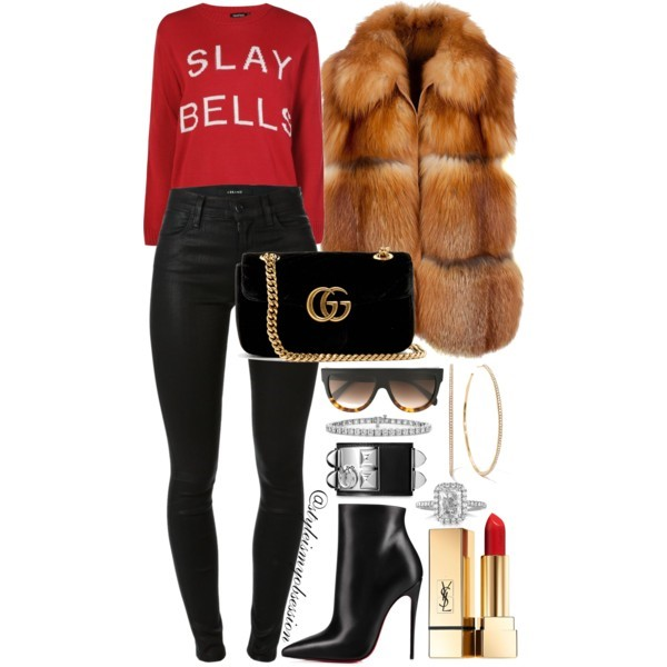 Slay Bells What To Wear To An Ugly Christmas Sweater Party Boohoo Slay Bells Jumper Liska Fur Vest Gucci GG Marmont Velvet Bag Christian Louboutin So Kate Ankle Boots.jpg