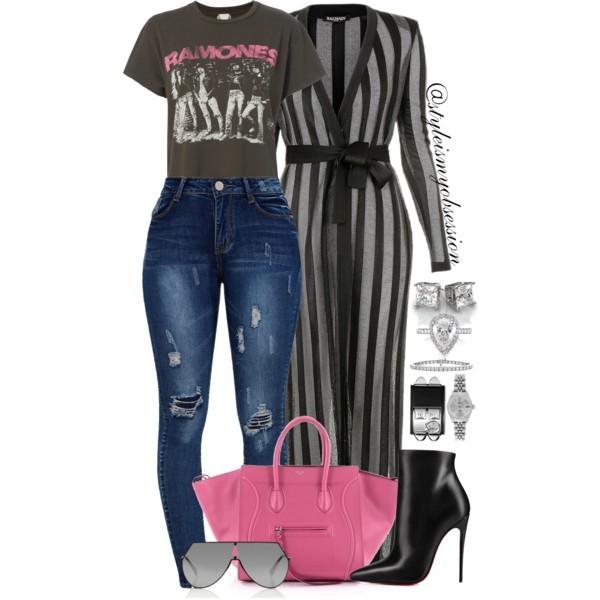 Style Inspiration World Tour Balmain Striped Cardigan Madeworn Ramones Tshirt Celine Phantom Bag Christian Louboutin So Kate Boots.jpg