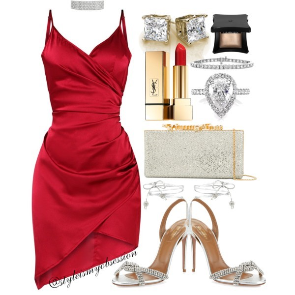 Style Inspiration Santa Baby Pretty Little Thing Red Satin Wrap Dress Aquazzura Sandal Jimmy Choo Celeste Clutch.jpg
