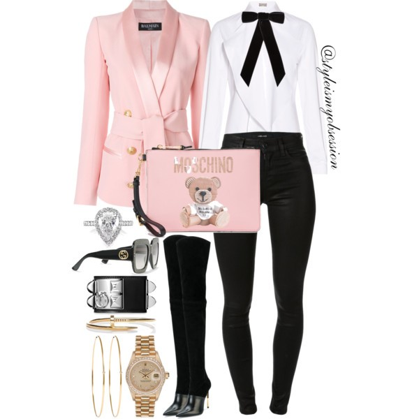 Style Inspiration Mademoiselle Moschino Balmain Tuxedo Blazer Balmain Amazone Boots Moschino Bear Print Clutch.jpg