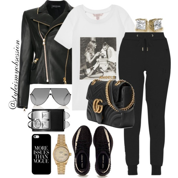 Style Inspiration Model Off Duty Balmain Biker Jacket Gucci GG Marmont Matelasse Bag Fendi Shield Sunglasses Yeezy Sneakers.jpg