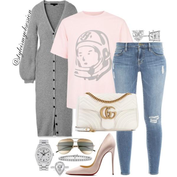 Style Inspiration The Billionaire's Club Alexander Wang Cardigan Billionaire Boy's Club T-shirt Gucci GG Marmont Bag Christian Louboutin So Kate Pump.jpg