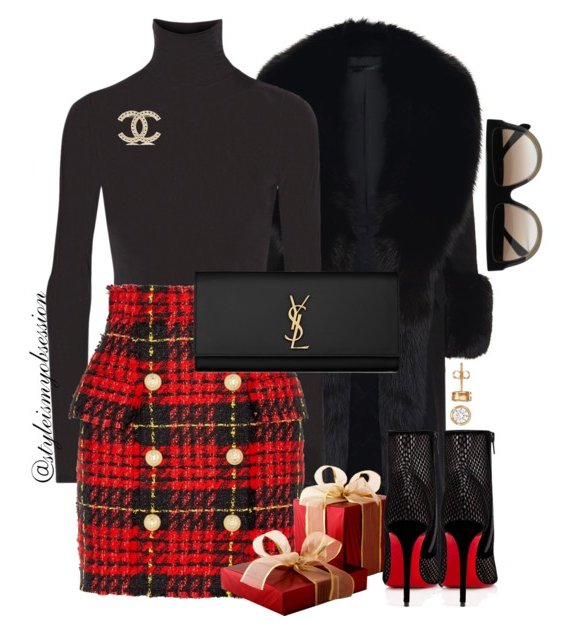 Style Inspiration Christmas Eve Elie Saab Fur Coat Balmain Tweed Mini Skirt Christian Louboutin Gipsy Ankle Boots Saint Laurent Kate Clutch.PNG